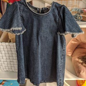 Stem denim dress with frilly sleeves